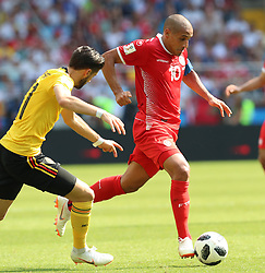 MOSCOW, June 23, 2018  Wahbi Khazri (R) of Tunisia competes during the 2018 FIFA World Cup Group G match between Belgium and Tunisia in Moscow, Russia, June 23, 2018. Belgium won 5-2. (Credit Image: © Yang Lei/Xinhua via ZUMA Wire)