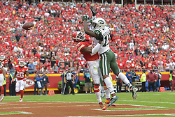 Sep 25, 2016; Kansas City, MO, USA; Kansas City Chiefs strong safety Eric Berry (29) breaks up a pass intended for New York Jets wide receiver Brandon Marshall (15) during the first half at Arrowhead Stadium. Mandatory Credit: Denny Medley-USA TODAY Sports