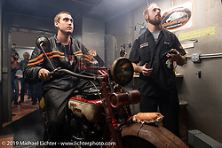 Aaron Loveless checks out his 1918 Harley on a dyno at Harley-Davidson of Jamestown as shop mechanic Casey Anderson brings up the results during the Motorcycle Cannonball coast to coast vintage run. Stage-3 (227-miles) from Binghampton to Jamestown, NY. Monday September 10, 2018. Photography ©2018 Michael Lichter.