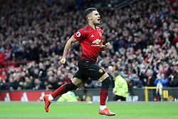 Manchester United's Andreas Pereira celebrates scoring his side's second goal of the game during the Premier League match at Old Trafford, Manchester.