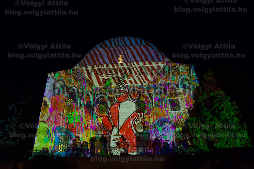 Artistic lights illuminate the local mosque during the Zsolnay Light Festival held in central Pecs, Hungary on June 30, 2018. ATTILA VOLGYI