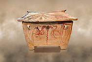 Minoan  pottery gabled larnax coffin chest with bird and floral decorations,   1370-1250 BC, Heraklion Archaeological  Museum. .<br /> <br /> If you prefer to buy from our ALAMY PHOTO LIBRARY  Collection visit : https://www.alamy.com/portfolio/paul-williams-funkystock/minoan-art-artefacts.html . Type -   Heraklion   - into the LOWER SEARCH WITHIN GALLERY box. Refine search by adding background colour, place, museum etc<br /> <br /> Visit our MINOAN ART PHOTO COLLECTIONS for more photos to download  as wall art prints https://funkystock.photoshelter.com/gallery-collection/Ancient-Minoans-Art-Artefacts-Antiquities-Historic-Places-Pictures-Images-of/C0000ricT2SU_M9w