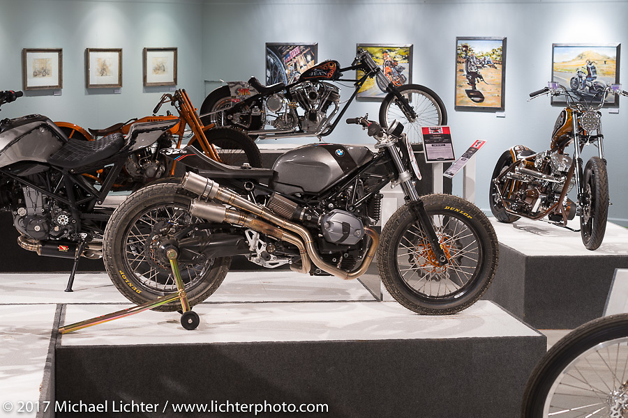 Dan Riley's custom Soulfuel BMW NineT in the Old Iron - Young Blood exhibition in the Motorcycles as Art gallery at the Buffalo Chip during the annual Sturgis Black Hills Motorcycle Rally. Sturgis, SD, USA. Wednesday August 9, 2017. Photography ©2017 Michael Lichter.