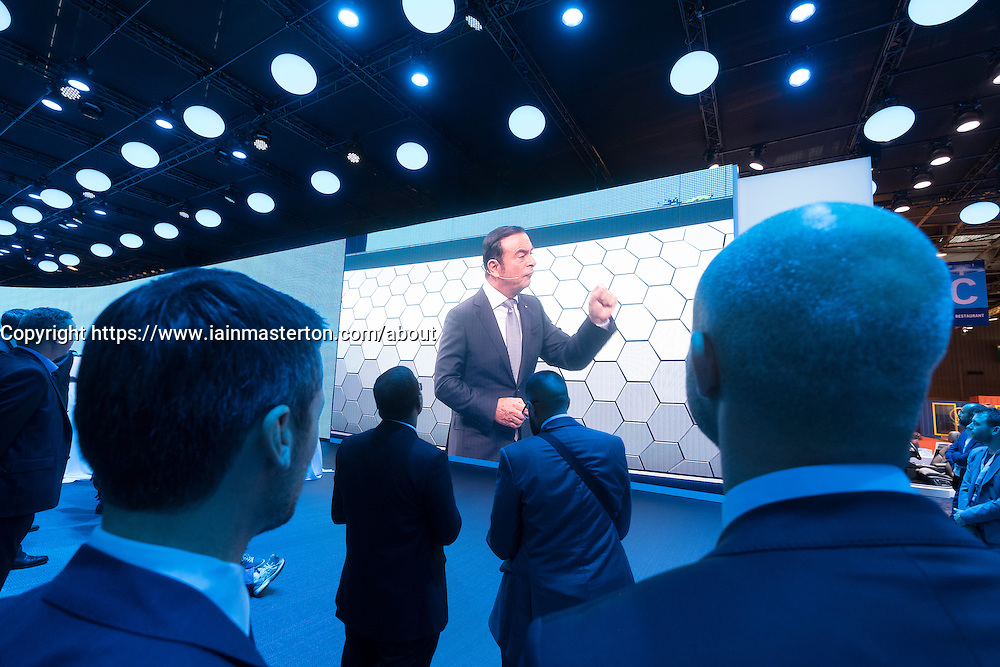 Renault Chairman and CEO Carlos Ghosn during presentation at Paris Motor Show 2016