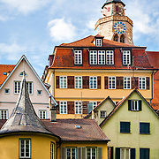The picturesque architecture of Tübingen, Germany, including Stiftskirche and Hölderlinturm, the yellow tower where Hölderlin lived in utter seclusion. <br /> <br /> Tübingen is best described as a mixture of old and distinguished academic flair, including liberal and green politics on the one hand and traditional German-style student fraternities on the other, with rural-agricultural environs and shaped by typical Lutheran-Pietist characteristics, such as austerity and a Protestant work ethic, and traditional Swabian elements, such as frugality, order and tidiness. The city is home to many picturesque buildings from previous centuries and lies on the river Neckar.<br /> <br /> According to a national survey, Tübingen has the highest quality of life of all cities in Germany.