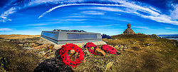 Wreaths at the memorial to the Argyll and Sutherland Highlanders at the top of Dumyat, a hill at the western extremity of the Ochil Hills in central Scotland.