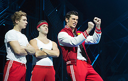 © Licensed to London News Pictures. 11/10/2012. London, England. L-R: Duncan Leighton as Wayne, Robbie Boyle as Huey and Stewart Clarke as Eddie. LOSERVILLE, a new original British musical created by Elliot Davis and James Bourne, is set in 1971 in an American High School and features Aaron Sidwell (EastEnders), Eliza Hope Bennett (Nanny McPhee), Stewart Clarke, Charlotte Harwood (Hollyoaks), Richard Lowe, Lil' Chris (Rock School) and Daniel Buckley. Photo credit: Bettina Strenske/LNP