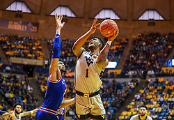 Jan 19, 2019; Morgantown, WV, USA; West Virginia Mountaineers forward Derek Culver (1) shoots in the lane during the second half against the Kansas Jayhawks at WVU Coliseum. Mandatory Credit: Ben Queen-USA TODAY Sports