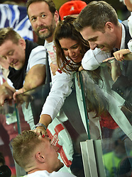 Rebekah Vardy and Jamie Vardy attend the 1/8 Final Game between Colombia and England at the 2018 FIFA World Cup in Moscow, Russia on July 3rd, 2018. Photo by Lionel Hahn/ABACAPRESS.COM