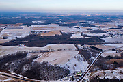 Aerial view of rural Dane County, Wisconsin in the winter on an overcast day.