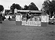 "008/08/1987<br /> 08/08/1987<br /> 08 August 1987<br /> RDS Horse Show, Ballsbridge, Dublin. The Irish Trophy - Grand Prix of Ireland. Eddie Macken (Ireland) on ""Carroll's Flight""."