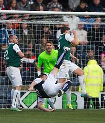 Raith Rovers Jon Daly tries an overhead kick but Hibernian's Paul Hanlon stops the shot and Raith claimed for a penalty. <br /> Raith Rovers 1 v 2 Hibernian, Scottish Championship game played 24/10/2015 at Starks Park.