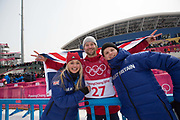 Billy Morgan, Great Britain, with Jamie Nicholls & Aimee Fuller following the mens snowboard big air final at the Pyeongchang 2018 Winter Olympics on 24th February 2018, at the Alpensia Ski Jumping Centre in Pyeongchang-gun, South Korea