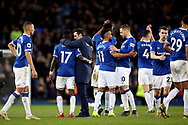 Everton Manager Marco Silva and his players celebrate their win during the Premier League match between Everton and Chelsea at Goodison Park, Liverpool, England on 17 March 2019.