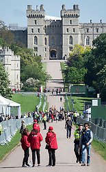 © Licensed to London News Pictures. 17/05/2018. Windsor, UK. Barriers are in place on The Long Walk in sight of Windsor Castle two days ahead of the wedding of Prince Harry and Meghan Markle. Later, a full military procession rehearsal will take place through the streets of Windsor. Photo credit: Peter Macdiarmid/LNP