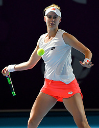 DOHA, Feb. 12, 2019  Alison Riske of the United States hits a return during the final qualifications round against Zhu Lin of China at the 2019 WTA Qatar Open in Doha, Qatar, on Feb. 11, 2019. Alison Riske lost the match 0-2. (Credit Image: © Yangyuanyong/Xinhua via ZUMA Wire)