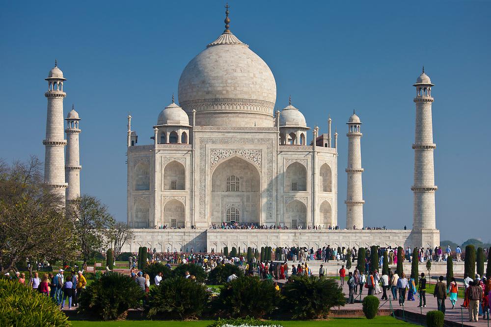 Crowds of tourists at The Taj Mahal mausoleum southern view Uttar Pradesh, India