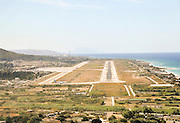 runway approach shot at the Rhodes Diagoras Airport, Greece