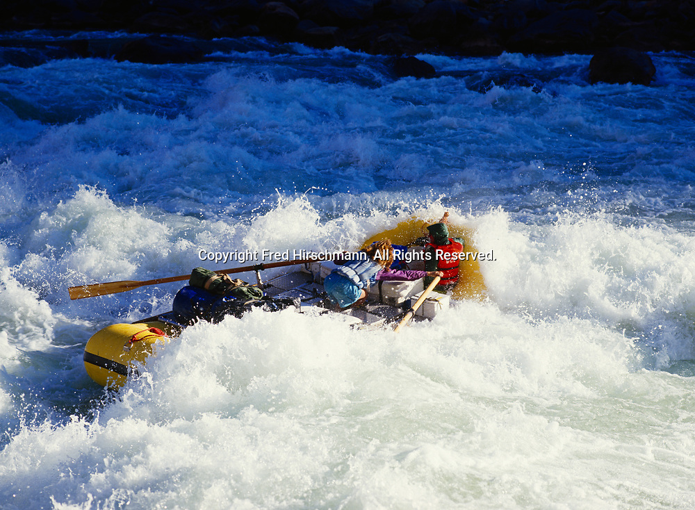 Whitewater of Lava Falls engulfing Denise as she rows Oars raft down the Colorado River, Grand Canyon National Park, Arizona.