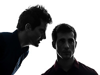 two  young men hearing voices influencing in shadow white background