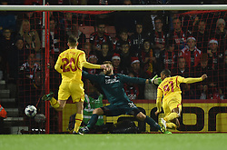 Liverpool's Raheem Sterling scores against AFC Bournemouth - Photo mandatory by-line: Paul Knight/JMP - Mobile: 07966 386802 - 17/12/2014 - SPORT - Football - Bournemouth - Goldsands Stadium - AFC Bournemouth v Liverpool - Capital One Cup