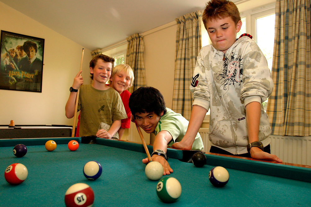 Hockerill Anglo-European College; grant maintained specialist language college, UK 2008, About one third of the pupils are boarders, In the sixth form students study the International Baccalaureate Diploma, Boarders playing pool