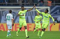 BILDET INNGÅR IKEK I FASTAVTALER. ALL NEDLASTING BLIR FAKTURERT.<br /> <br /> Fotball<br /> Gent v Wolfsburg<br /> 17.02.2016<br /> Foto: Photonews/Digitalsport<br /> NORWAY ONLY<br /> <br /> Coulibaly Kalifa forward of KAA Gent celebrates scoring a goal with teammate Neto Renato Cardoso midfielder of KAA Gent during the Champions League Round of 16, first leg match between KAA Gent and VfL Wolfsburg at the Ghelamco stadium in Gent, Belgium.