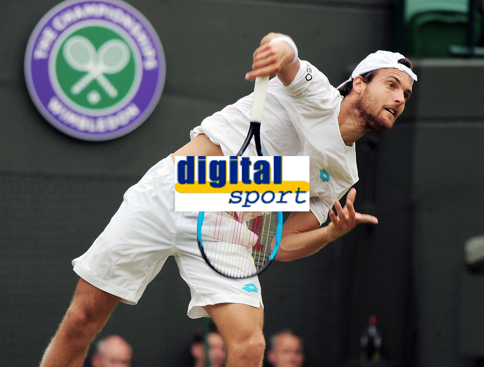 Tennis - 2019 Wimbledon Championships - Week One, Saturday (Day Six)<br /> <br /> Mens Singles, 3rd Round <br /> Joao Sousa (POR) v Dan Evans (GBR) <br /> <br /> Joao Sousa  on Court 1<br /> <br /> COLORSPORT/ANDREW COWIE