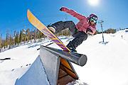 Snowboarding in A51 park. Keystone, Colorado