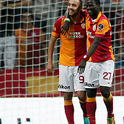 Galatasaray's celebrates his goal Sercan Yildirim, Emmanuel Eboue during their Turkish Super League soccer match Galatasaray between Akhisar Belediyespor at the TT Arena at Seyrantepe in Istanbul Turkey on Sunday 23 September 2012. Photo by TURKPIX