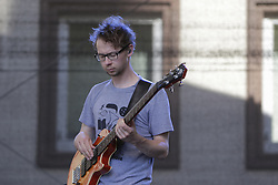 June 18, 2017 - Worms, Rhineland-Palatinate, Germany - Georg Wende from the German band Malay plays the bass guitar live on stage at the 2017 Jazz and Joy Festival in Worms in Germany. (Credit Image: © Michael Debets/Pacific Press via ZUMA Wire)