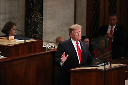 United States President Donald J. Trump delivers his second annual State of the Union Address to a joint session of the US Congress in the US Capitol in Washington, DC on Tuesday, February 5, 2019. Credit: Alex Edelman / CNP. 05 Feb 2019 Pictured: United States President Donald J. Trump delivers his second annual State of the Union Address to a joint session of the US Congress in the US Capitol in Washington, DC on Tuesday, February 5, 2019. Credit: Alex Edelman / CNP. Photo credit: Alex Edelman - CNP / MEGA TheMegaAgency.com +1 888 505 6342
