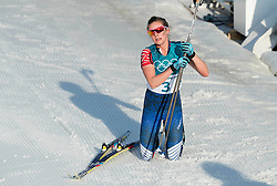 February 25, 2018 - Pyeongchang, South Korea - Jessica Diggins of USA at the finish line  during the Ladies Cross Country Skiing Mass Start 30k at the PyeongChang 2018 Winter Olympic Games at Alpensia Cross-Country Skiing Centre on Sunday February 25, 2018. (Credit Image: © Paul Kitagaki Jr. via ZUMA Wire)