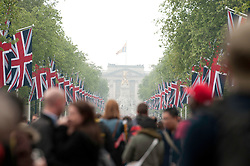 LONDON, UK  29/04/2011. The Royal Wedding of HRH Prince William to Kate Middleton. Wellwishers gather on The Mall in central London to celebrate the marriage of HRH Prince William to Kate Middleton. Photo credit should read MICHAEL GRAAE/LNP. Please see special instructions. © under license to London News Pictures
