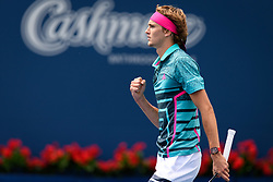 August 10, 2018 - Toronto, ON, U.S. - TORONTO, ON - AUGUST 10: Alexander Zverev (GER) celebrates a point during his Quarter-Finals match of the Rogers Cup tennis tournament on August 10, 2018, at Aviva Centre in Toronto, ON, Canada. (Photo by Julian Avram/Icon Sportswire) (Credit Image: © Julian Avram/Icon SMI via ZUMA Press)