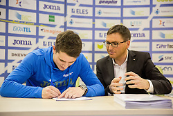 Robert Renner and Roman Dobnikar during press conference when Slovenian athletes and their coaches sign contracts with Athletic federation of Slovenia for year 2016, on February 25, 2016 in AZS, Ljubljana, Slovenia. Photo by Vid Ponikvar / Sportida