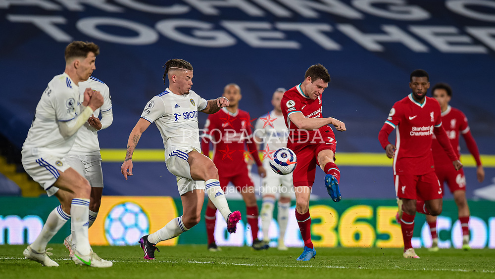 LEEDS, ENGLAND - Monday, April 19, 2021: Liverpool's James Milner shoots during the FA Premier League match between Leeds United FC and Liverpool FC at Elland Road. (Pic by Propaganda)