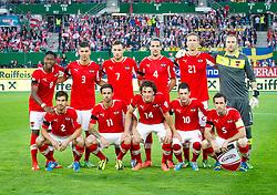 07.06.2013, Ernst Happel Stadion, Wien, AUT, FIFA WM Qualifikation, Oesterreich vs Schweden, im Bild 1. Reihe: Gyoergy Garics, (AUT, #2), Martin Harnik, (AUT, #11), Julian Baumgartlinger, (AUT, #14), Zlatko Junuzovic, (AUT, #10), Christian Fuchs, (AUT, #5), 2. Reihe: David Alaba, (AUT, #8), Aleksandar Dragovic, (AUT, #3), Marko Arnautovic, (AUT, #7), Emanuel Pogatetz, (AUT, #4), Marc Janko, (AUT, #21), Robert Almer, (AUT, #1)// during the FIFA World Cup Qualifier Match between Austria and Sweden at the Ernst Happel Stadium, Vienna, Austria on 2013/06/07. EXPA Pictures © 2013, PhotoCredit: EXPA/ Sebastian Pucher