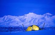Alaska. Chugach Mts. Winter camping near Eureka Glacier.