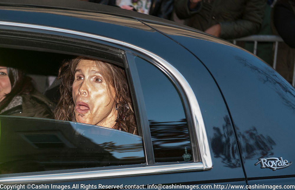 05 November 2012:  Aerosmith's Steven Tyler in a limo leaving after a free concert in Boston's Allston neighborhood in front of the apartment building, 1325 Commonwealth Ave, which was the band's home in the early 1970's.  Boston, MA. ***Editorial Use Only*****