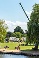 The construction of the Stratford upon Avon Wheel which has been a very divisive attraction in the historic town now especially with Covid19 photo mark anton smith