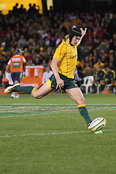 © Licensed to London News Pictures. 16/06/2012. Etihad Stadium, Melbourne Australia. Berrick Barnes kicks for a field goal during the 2nd Rugby Test between Australia Wallabies Vs Wales . Photo credit : Asanka Brendon Ratnayake/LNP