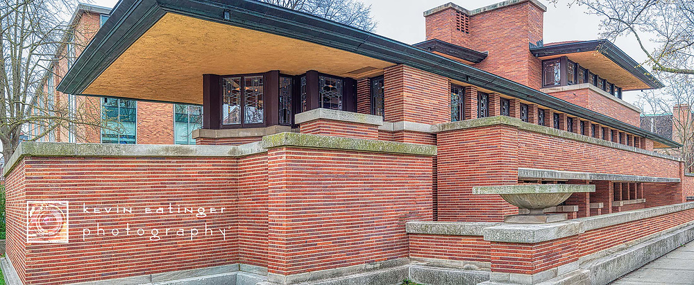 Architectural photography in Hyde Park, Illinois.  Detailed image of historic Frank Lloyd Wright building. Spring 2020. During the Covid-19 pandemic.  Digital photography.