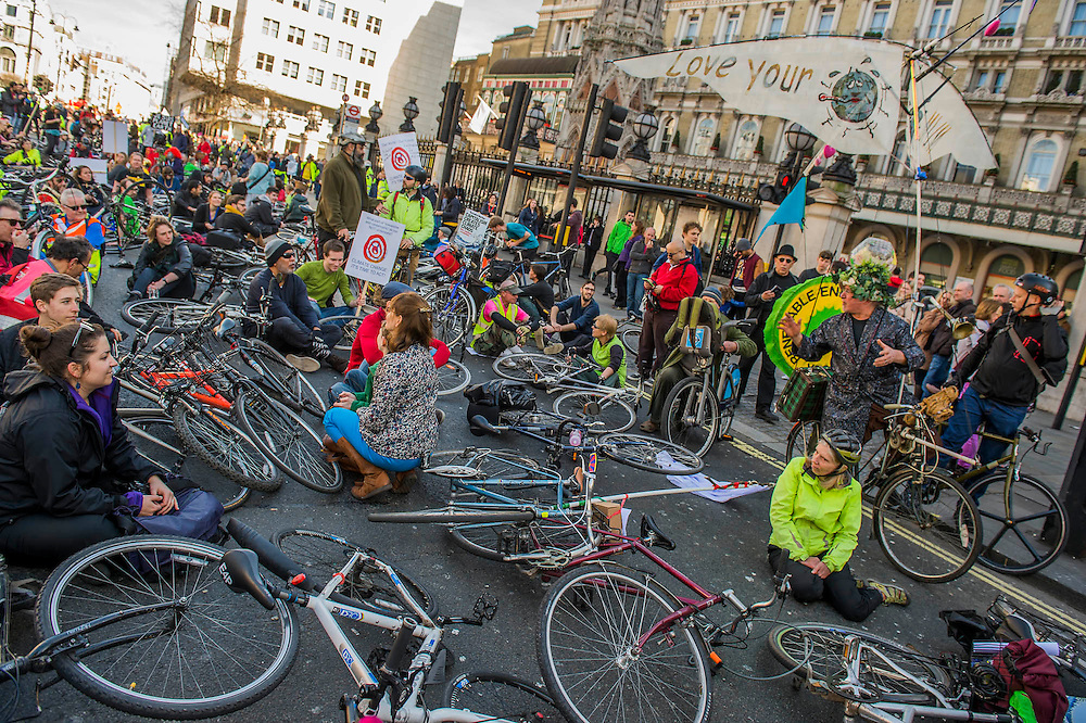 The protest was led by a group of cyclists who stopped outside Charing Cross for a die-in (pictured). The People's Climate March saw thousands of people from all angles of climate protest (from Greenpeace and Friends of the Earth to much smaller anti fracking groups) march from Holborn to Westminster in London. The march was colourful and generally peaceful.