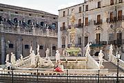 Famous Pretoria Fountain ( Fontana Pretoria ) and marble statues in Piazza Pretoria in centre of Palermo, Sicily, Italy