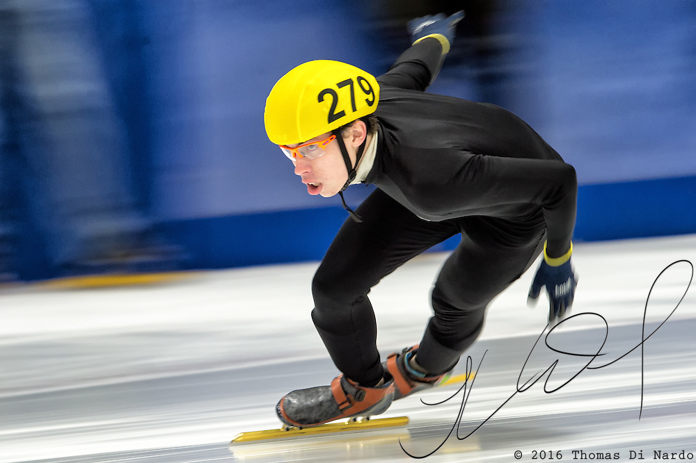 March 20, 2016 - Verona, WI - Andrew Clauser, skater number 279 competes in US Speedskating Short Track Age Group Nationals and AmCup Final held at the Verona Ice Arena.