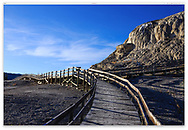 A wooden walkway along Mammoth Hot Springs at dawn, Yellowstone National Park, Wyoming, USA