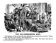 """The All-Conquering Scot. Old Scotsman (to his son, who has just returned from a business trip to London). """"Weel, laddie, and what dae ye think o' the English noo?"""" Son. """"Oh, I didn't have much of a chance to study them. You see, I only had to do with the heads of departments!"""""""