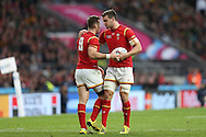 Sam Warburton, the Wales captain talks to Gareth Davies of Wales. Rugby World Cup 2015 quarter final match, South Africa v Wales at Twickenham Stadium in London, England  on Saturday 17th October 2015.<br /> pic by  John Patrick Fletcher, Andrew Orchard sports photography.