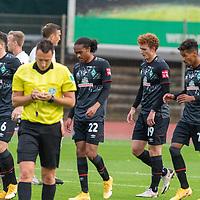 07.10.2020, wohninvest Weserstadion Platz 11, Bremen, GER, FSP SV WERDER BREMEN  vs 1. FC St. Pauli<br /> <br /> im Bild / picture shows <br /> <br /> jubel 2:0 Joshua Sargent (Werder Bremen #19) mit Kevin Möhwald / Moehwald (Werder Bremen #06)<br /> +isTheodor Gebre Selassie (Werder Bremen #23)<br /> Tahith Chong (Werder Bremen #22)<br /> Sven Jablonski (Schiedsrichter / Referee)<br /> <br /> Foto © nordphoto / Kokenge